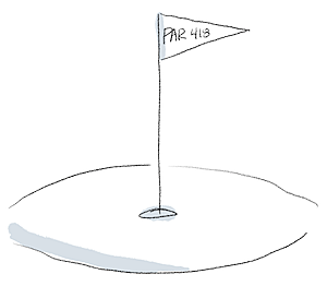 """line art of golf hole with flag reading """"par 418"""".png"""